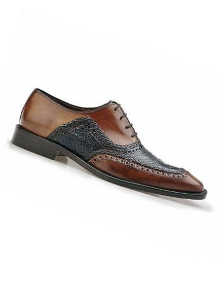 Buy CH1418 Men's Antique Tan/Blue Genuine World Best Alligator ~ Gator Skin Italian Calf Dress Shoes