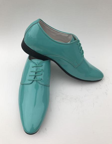 Mens Shiny Turquoise ~ Aqua Teal ~ Light Blue Plain Toe Lace Up Style formal Shiny Tuxedo Dress Shoes