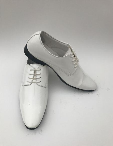 Mens Plain Toe Lace Up Style White Tuxedo Formal Shiny Dress Oxford Mens Shoe For Men Perfect for Wedding