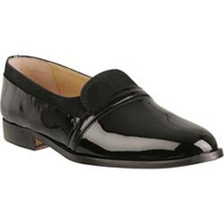 SKU# 7840 Plain-toe slip-on with tongue. Patent leather and nubuck. Leather sole. $49