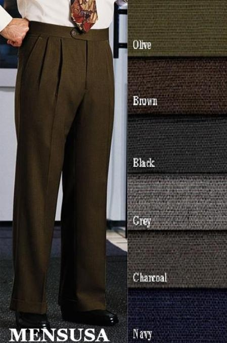SKU# ARG256 Double-Pleated Slaks / Dress Pants Front Pants Super 120s Wool Dress Slacks lined to knee Harwick Made In USA America