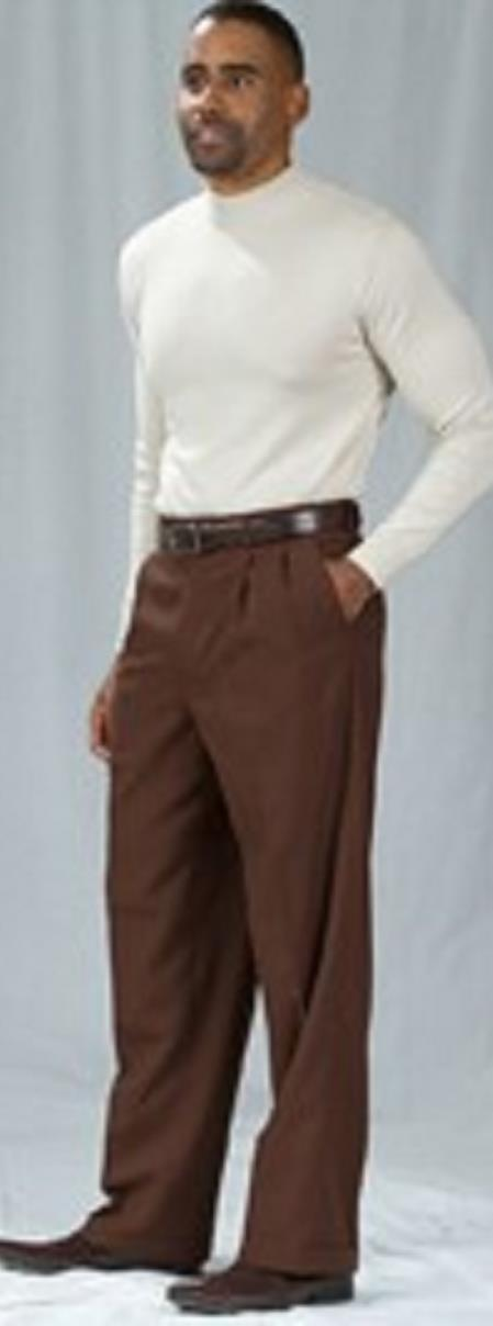 Pacelli Brown Pleated Baggy Fit Dress Pants unhemmed unfinished bottom Men's Wide Leg Trousers - Cheap Priced Dress Slacks For Men On Sale