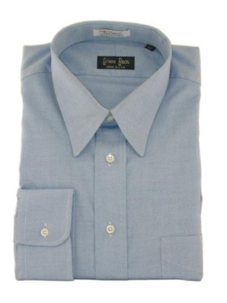 Gitman Point Collar Pinpoint Oxford Dress Shirt-Blue Price: $82.00 Sale Price $65