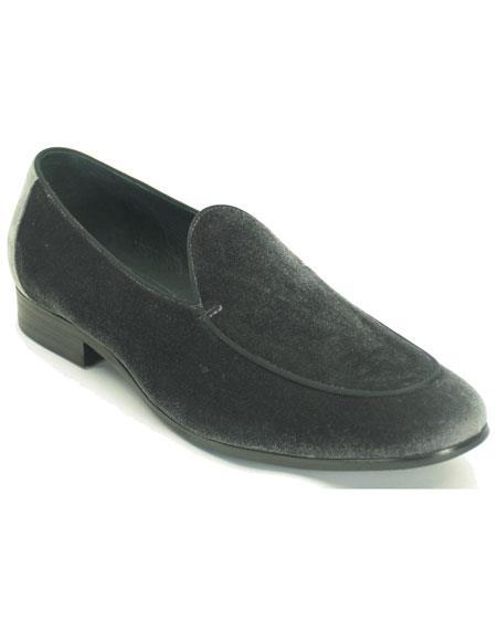 Mens Pointed Toe Genuine Grey Velvet Slip On Tuxedo Formal Dress Mens Shoe For Men Perfect for Wedding