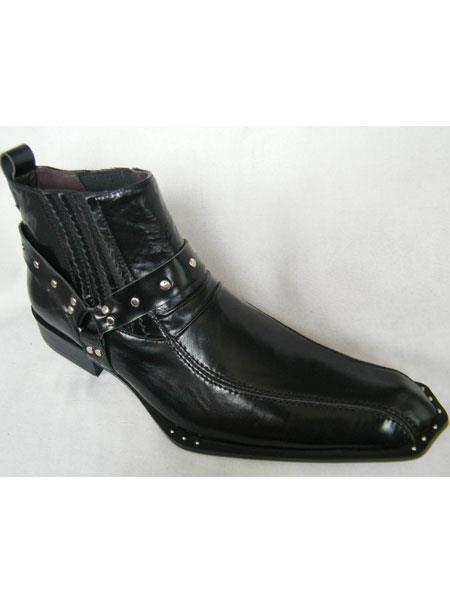 SKU#SM1684 Zota Brand Mens Italian Style Pointy Toe Leather Black Boots Rivet