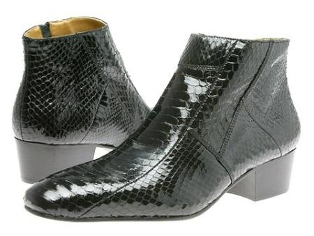SKU#EW15064 Pointy toe demi-boot in genuine snake skin with side gore. Durable man-made sole $139