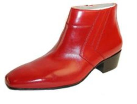 "SKU#155480 Pointy toe dress boot (6-/2"" tall) Red Boots $730"