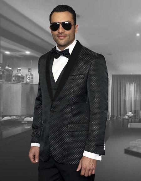 Mens Polk Dot ~ Geometric Tuxedo Suit Shawl Lapel Two Toned Vested Suits Black