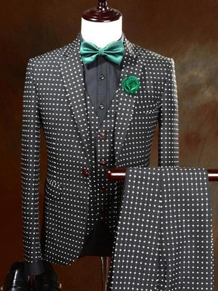 Mens One Button Polka Dot Designed Black Vested Suit
