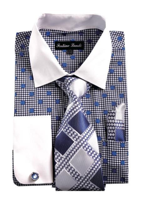 White Collared French Cuff Polka Dot Navy Shirt with Tie, Handkerchief, Cufflinks Mens Dress Shirt