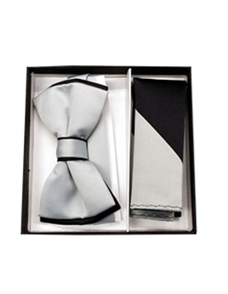 Mens Black / Gray Polyester Satin dual colors classic Bowtie with hankie