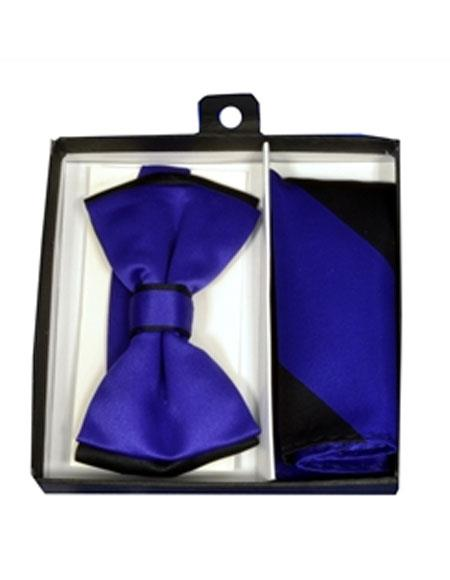 Mens Polyester Black/Purple Satin dual colors classic Bowtie with hankie