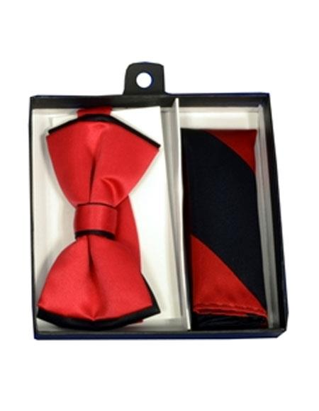 Buy CH1694 Mens Polyester Black/Red Satin dual colors classic Bowtie hankie