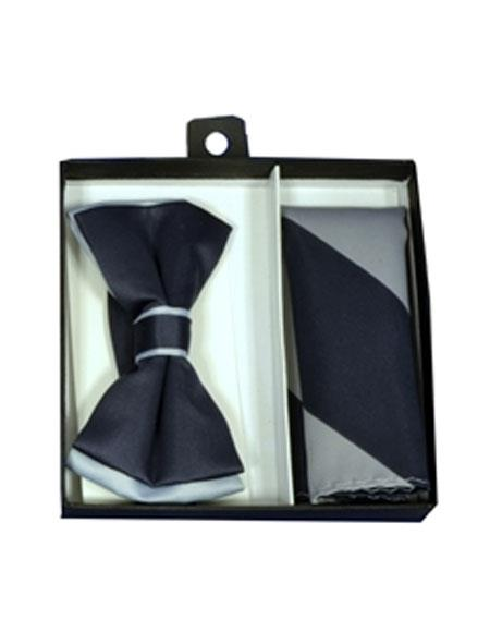 Mens Polyester Gray / Charcoal Satin dual colors classic Bowtie with hankie