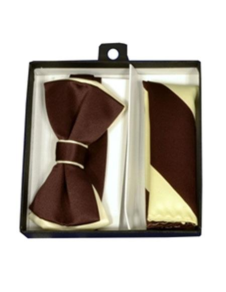 Mens Ivory / Brown Polyester Satin dual colors classic Bowtie with hankie
