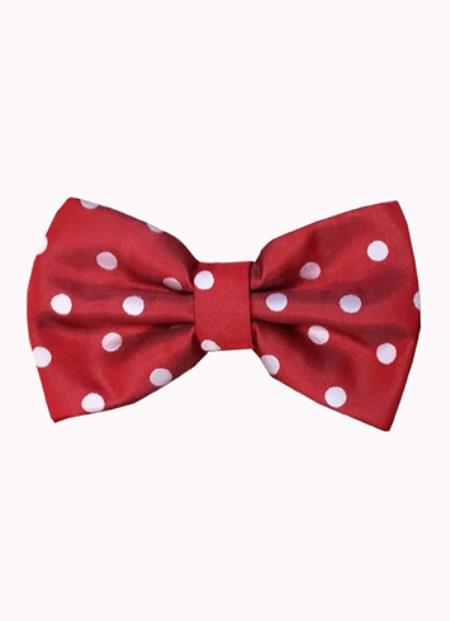 Mens Polyester Red and White Polka Dot Pattern Bowtie