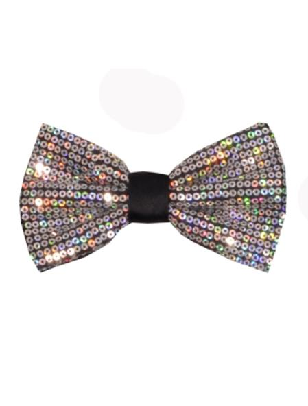Mens Polyester Sequin Bowtie Silver