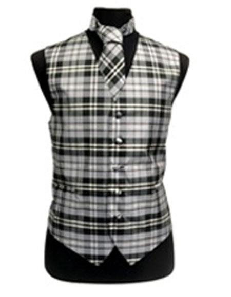 Men's White/Grey Slim Fit Polyester Plaid Design Dress Tuxedo Wedding Vest/Bow Tie Fashion Set