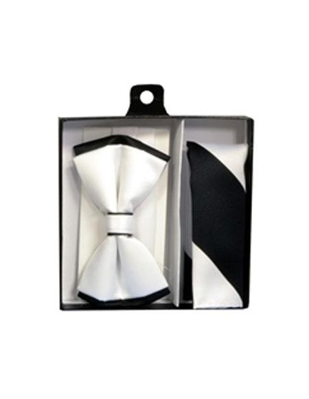 Mens Polyester White/Black Satin dual colors classic Bowtie with hankie