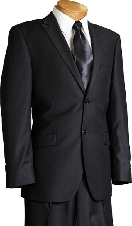 SKU#JD2380 Porto Filo Slim Cut Mens Italian Design Black 2 Button Sharkskin Suit $189