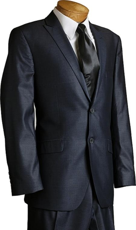 SKU#HY1990 Porto Filo Slim Cut Mens Italian Design Navy 2 Button Sharkskin Suit $189