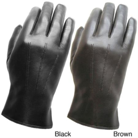 Mens Premium Leather Gloves Black,Brown
