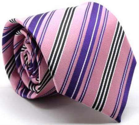Buy MK206 Men's Premium Mutli-Stripe Tie Pink