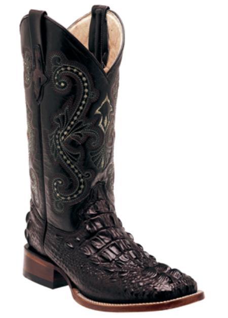 SKU#KZ1019 Print Hornback Crocodile ~ Alligator  Black - S Toe $159