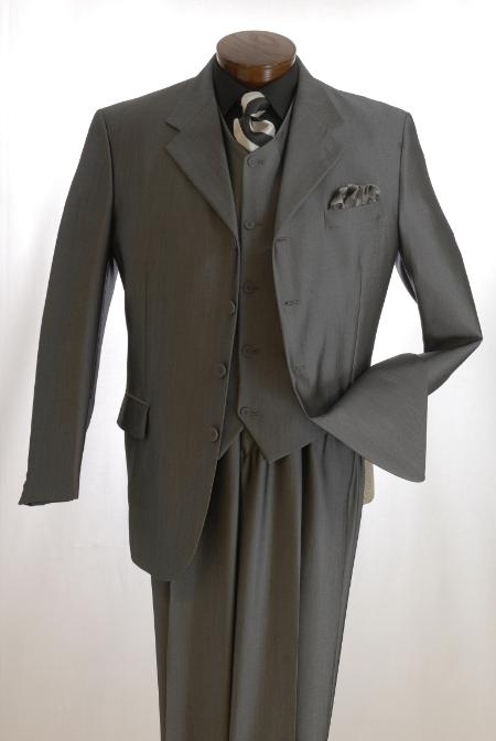 SKU#44ACMU Professional High Vested Pin Stripe 4 Button High Notch three piece suit $159