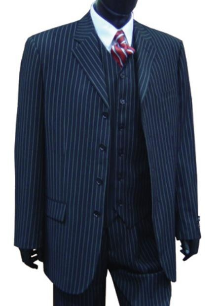 SKU# BDT328 Professional Vested Pin Stripe 4 Button High Notch three piece suit $288