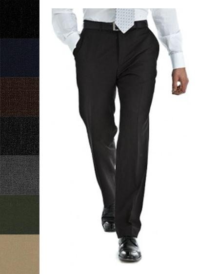 SKU#RTB154 Pure New Worsted Wool Flat Front Slacks in All Sizes and Colors $99
