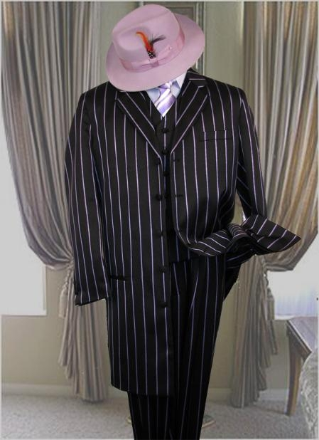 SKU# PTX721 BLACK- Purple~Lavender STRIP 3PC WIDE PINSTRIP FASHION ZOOT SUIT $169