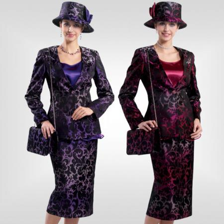 SKU#JX-30 ew Lyndas Special Occasion Raspberry / Purple 3 Piece Women Dress Set