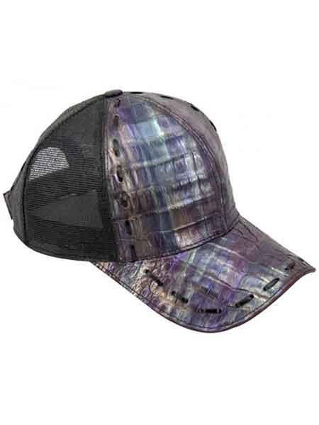 Genuine Ostrich World Best Alligator ~ Gator Skin CACHUCHA DE COCODRILO Exotic Skin Baseball Cap Purple/Black