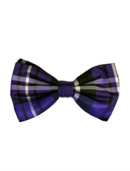 Men's Plaid Pattern Bowtie Purple and Black