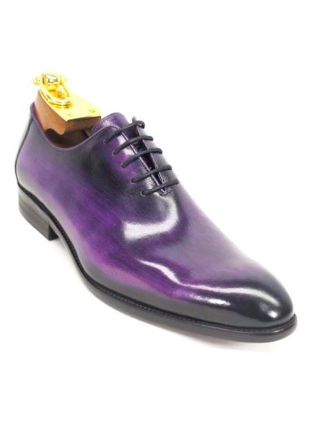 Carrucci Men's Purple Lace Up Style Genuine Calfskin Leather Oxford Shoes