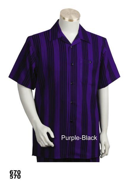 SKU#PB9987 Casual Walking Suit Set (Shirt & Pants Included) Purple-Black