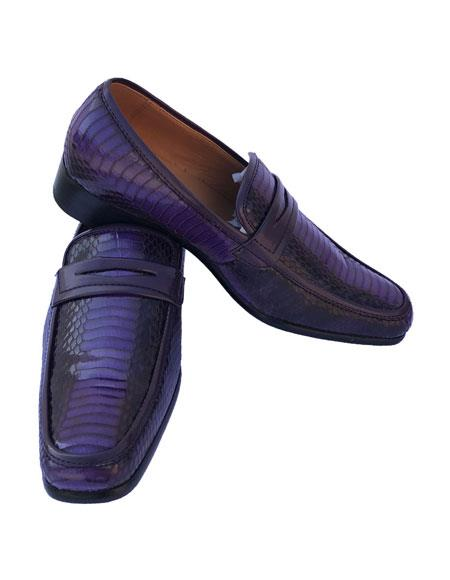 Buy AP274 Mens Slip-On Style Casual Purple ~ Eggplant ~ Plum Leather Dress Shoes