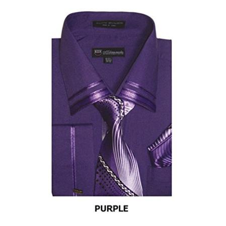 French Cuff + Tie + Handkerchief Set Spread Collar Purple Mens Dress Shirt