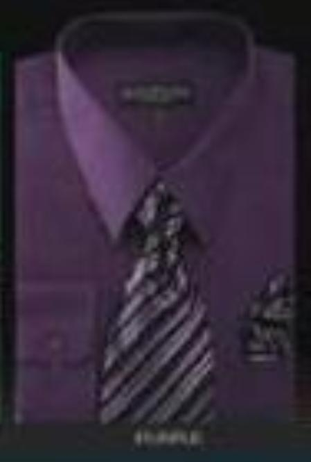 Conservative Style Dark Purple Men's Dress Shirt&Tie&HANKIE Men's Dress Shirt