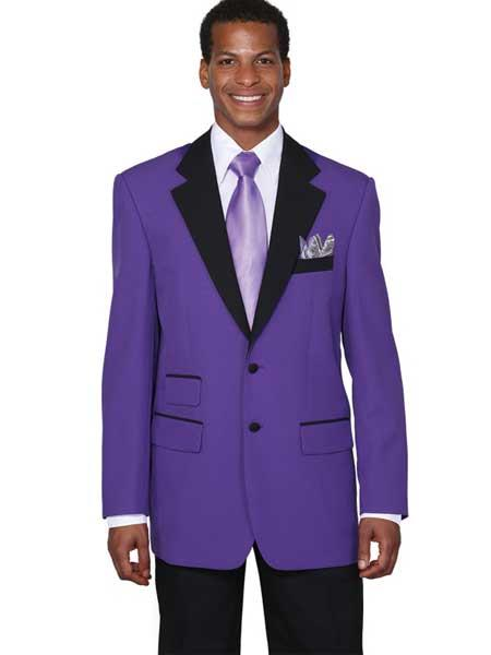 Men's Purple 2 Button Single Breasted Black Collar Jacket Tuxedo