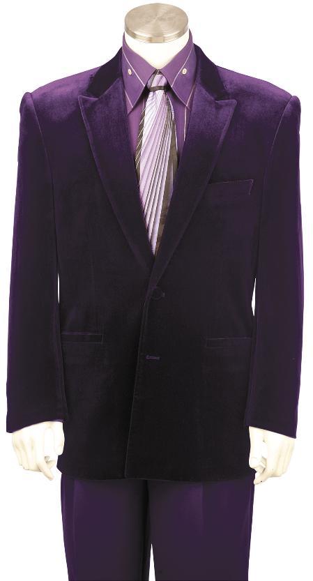 SKU#TQ8132 Mens Stylish Velvet Suit Purple