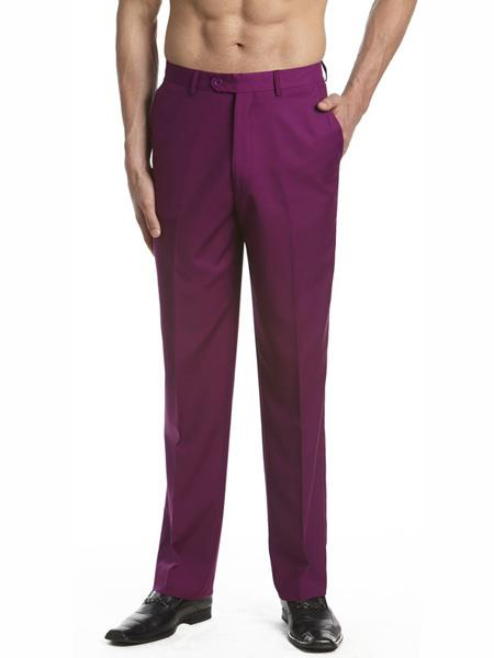 Mens Dress Pants Trousers Flat Front Slacks Purple