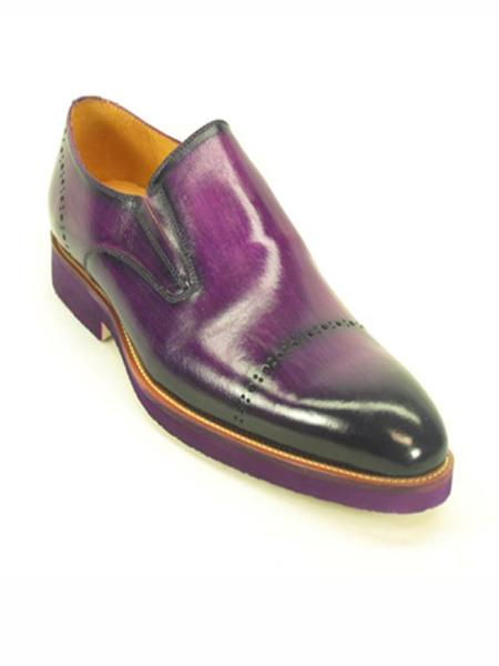 00e66dc5a606 SKU MO492 Mens Purple dress Perforated Pattern Slip on Loafer Shoe