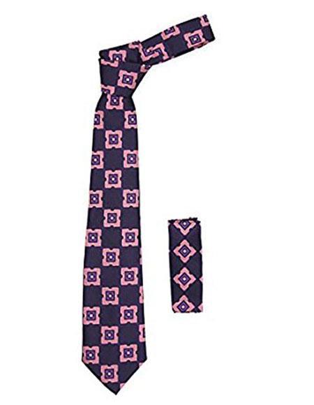 Men's Geometric Purple with Styish Pink Square Necktie Includes Hanky Set