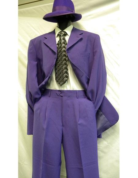 Mens Long 2PC Fashion Gangster Zoot Suit Purple