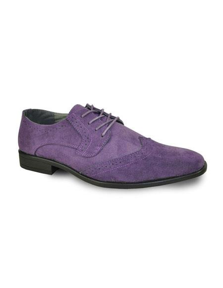 SKU#GD1101 Men's Lace Up Tuxedo Suede Solid Pattern Shoes Purple