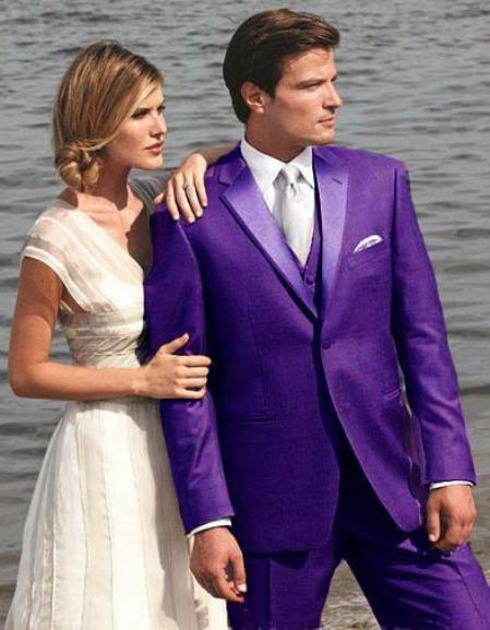 SKU#9T01 Stunning Purple Two Button Tuxedo 7 days delivery