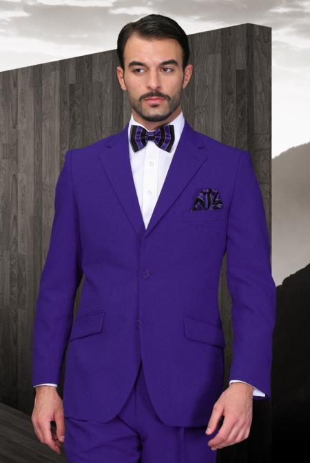Men's Purple Suit + Vest 2 Button Flat Front Pants 3 Piece Vested