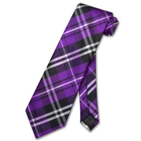 Purple Black White Design Mens Neck Tie